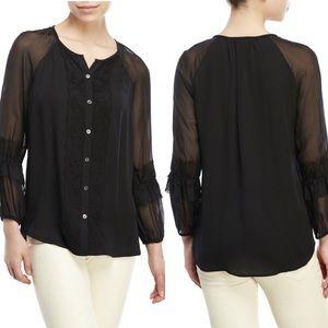 Diane Von Furstenberg Black silk Taylor blouse